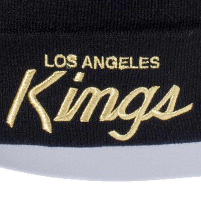 ニューエラ ニットキャップ ベーシックカフニット チームロゴ ロサンゼルス キングス ブラック メタリックゴールド ブラックの画像