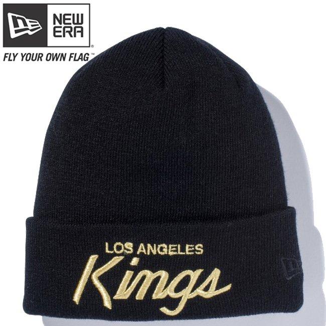 ニューエラ ニットキャップ ベーシックカフニット チームロゴ ロサンゼルス キングス ブラック メタリックゴールド ブラックの商品写真