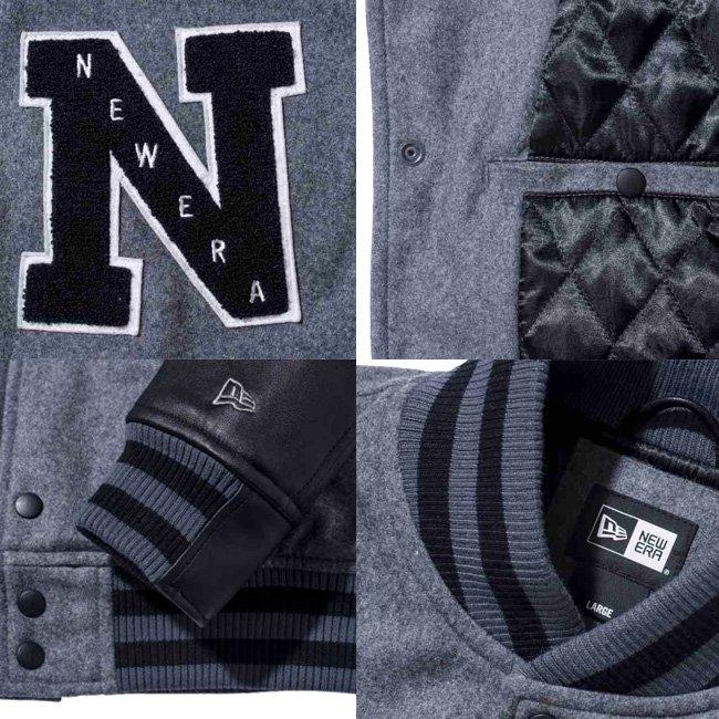 ニューエラ スタジアムジャケット エヌパッチ チャコール ブラック ブラック グレー グレーの画像