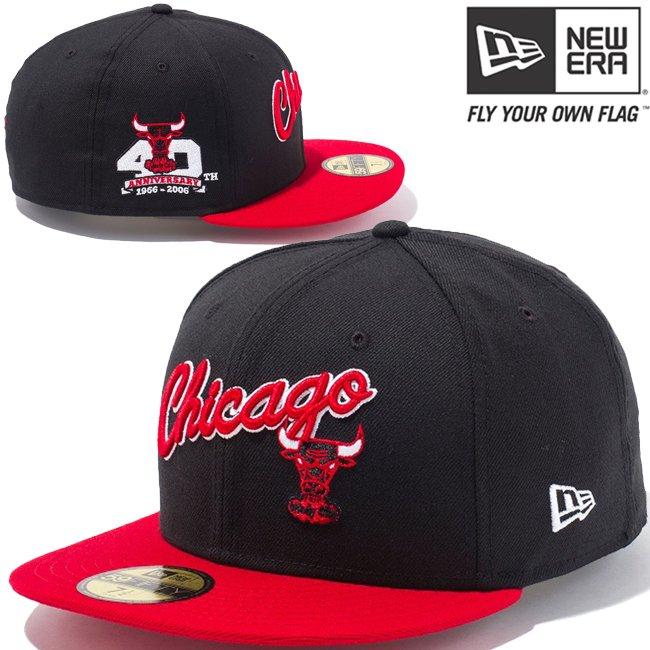 ニューエラ 5950キャップ ツートーンボディ NBA シカゴブルズ スクリプト ハードウッドクラシックス ブラック スカーレット チームカラー スノーホワイトの商品写真
