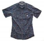 NEVERTRUST  DOT ROUND COLLAR半袖シャツ  NAVY