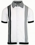 "MADCAP ENGLAND  ""CHARLIE"" CHECKER COLLAR KNIT POLO SHIRTS  WHITE"