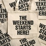<img class='new_mark_img1' src='//img.shop-pro.jp/img/new/icons8.gif' style='border:none;display:inline;margin:0px;padding:0px;width:auto;' />DoiN' THe MoD  THE WEEKEND STARTS HERE! TOTE BAG  NATURAL×BLACK