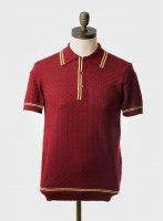 """ART GALLERY  """"MCGRIFF"""" S/S KNITTED POLO SHIRT  WINE"""