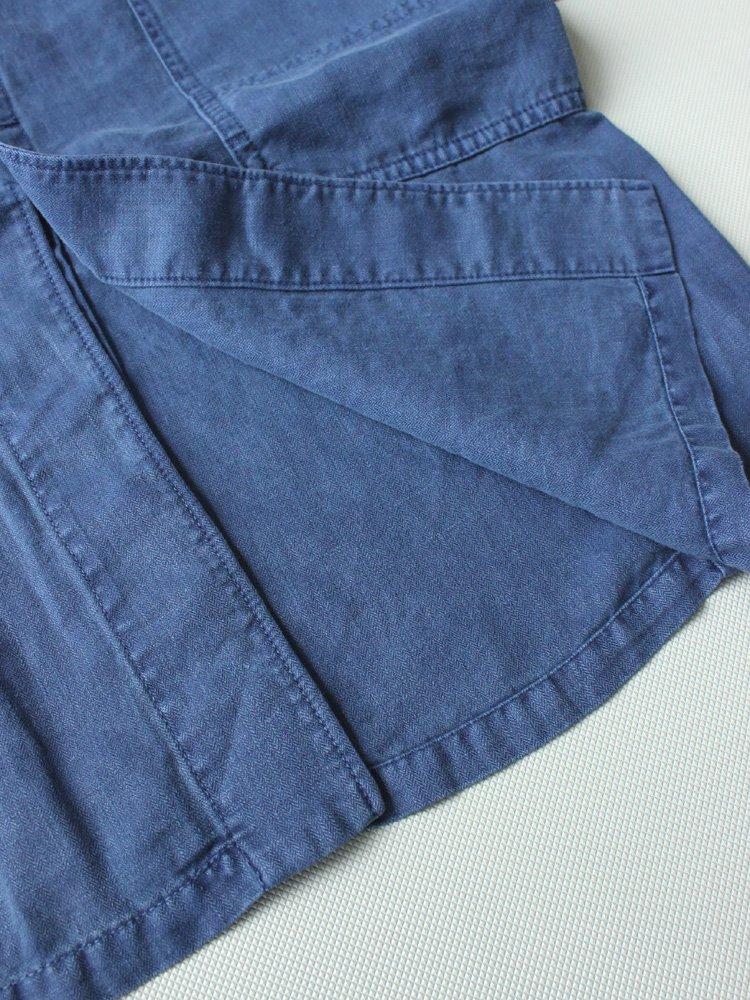 BLUE BLUE | ブルーブルー リネンヘリンボーンダイドショップコート #BLUE