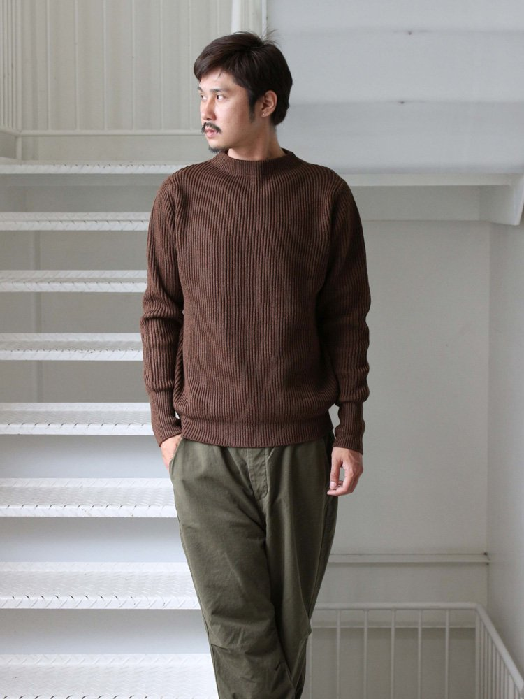 REMI RELIEF | レミレリーフ WOOL畦ニットクルー #BROWN