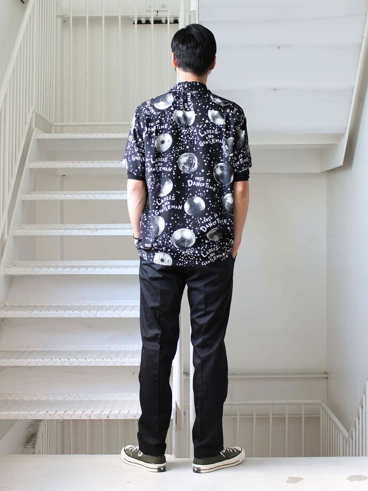 MIRROR BALL S/S HAWAIIAN SHIRTS #BLACK