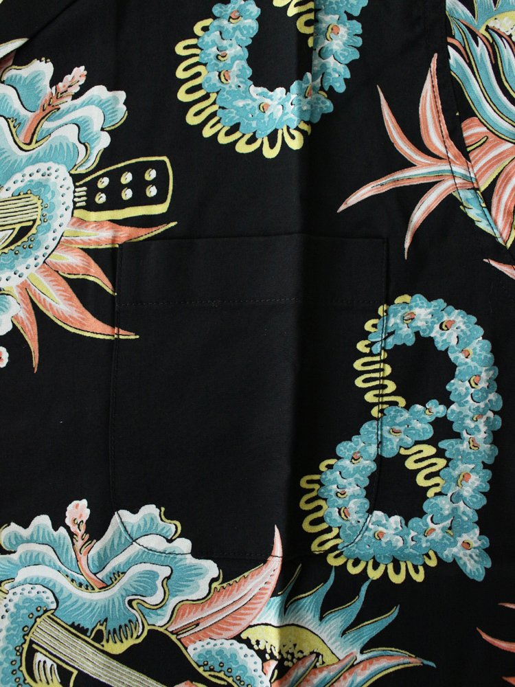 JAMAICA FLOWER S/S HAWAIIAN SHIRT #BLACK