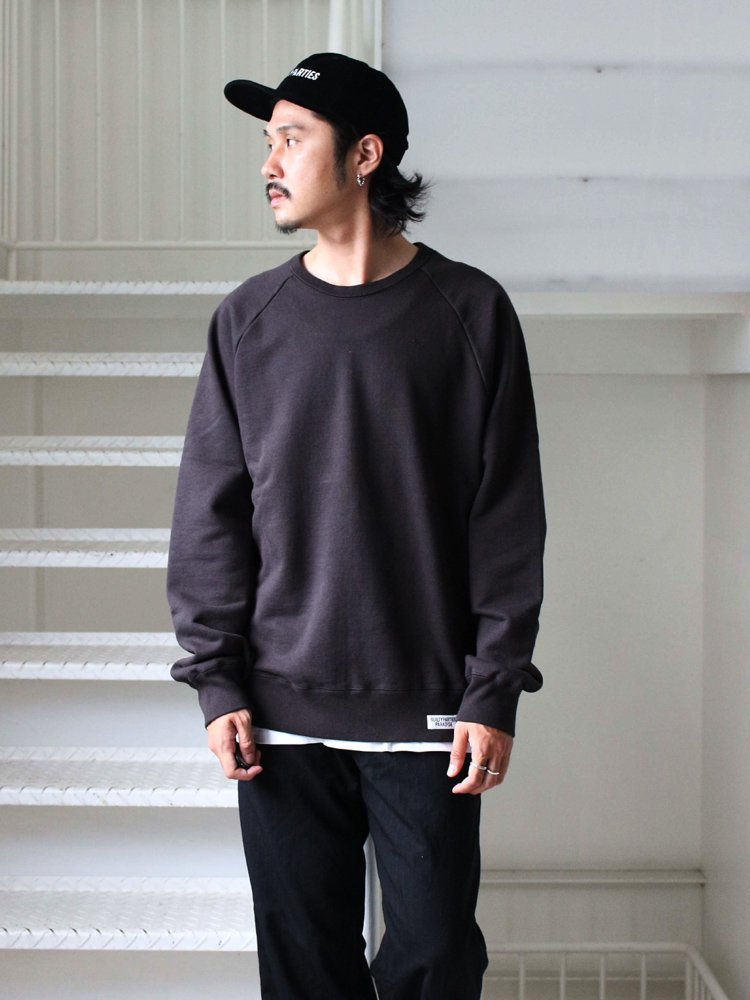 WASHED HEAVY WEIGHT CREW NECK SWEAT SHIRT (TYPE 6) #BLACK