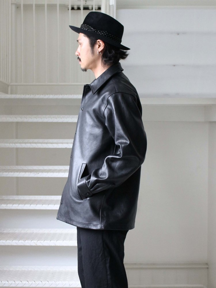 LEATHER COACH JACKET -A- (TYPE 1) #BLACK