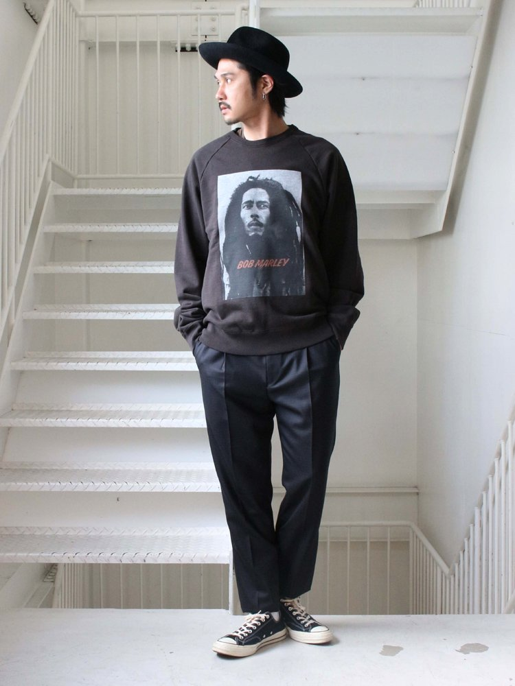 BOB MARLEY | WASHED HEAVY WEIGHT CREW NECK SWEAT SHIRT (TYPE 2) #BLACK
