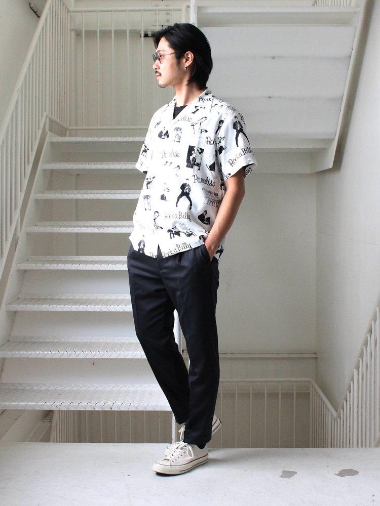 ROCKABILLY S/S HAWAIIAN SHIRT #WHITE [19SSE-WMS-HI01]