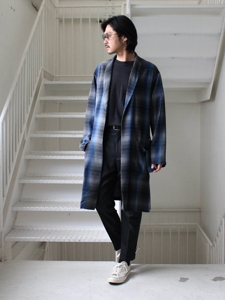60'S OMBRAY CHECK GOWN COAT #BLUE [19SSE-WMO-CO01]