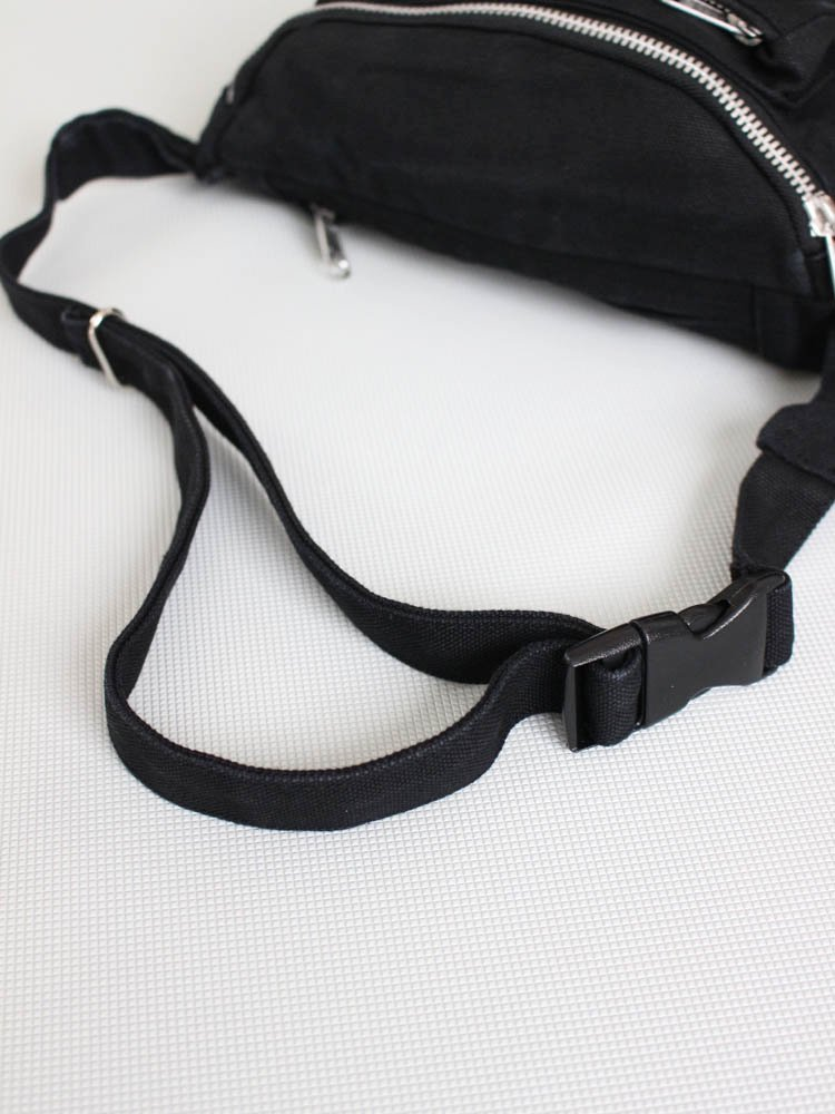 WASHED CANVAS WAIST BAG #BLACK [19SS-WMA-BG04]