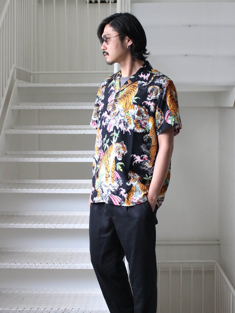 TIM LEHI | S/S HAWAIIAN SHIRT (TYPE 2) #BLACK [TIMLEHI-WM-HI03]