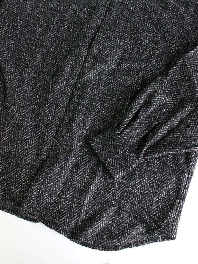 BIG HERRINGBONE SHIRT #BLACK [SC1920-SH07]