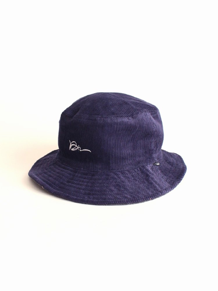 HOLE AND HOLLAND|KANI CORD REVERSIBLE HAT #NAVY/BLACK DENIM [HH19F39]