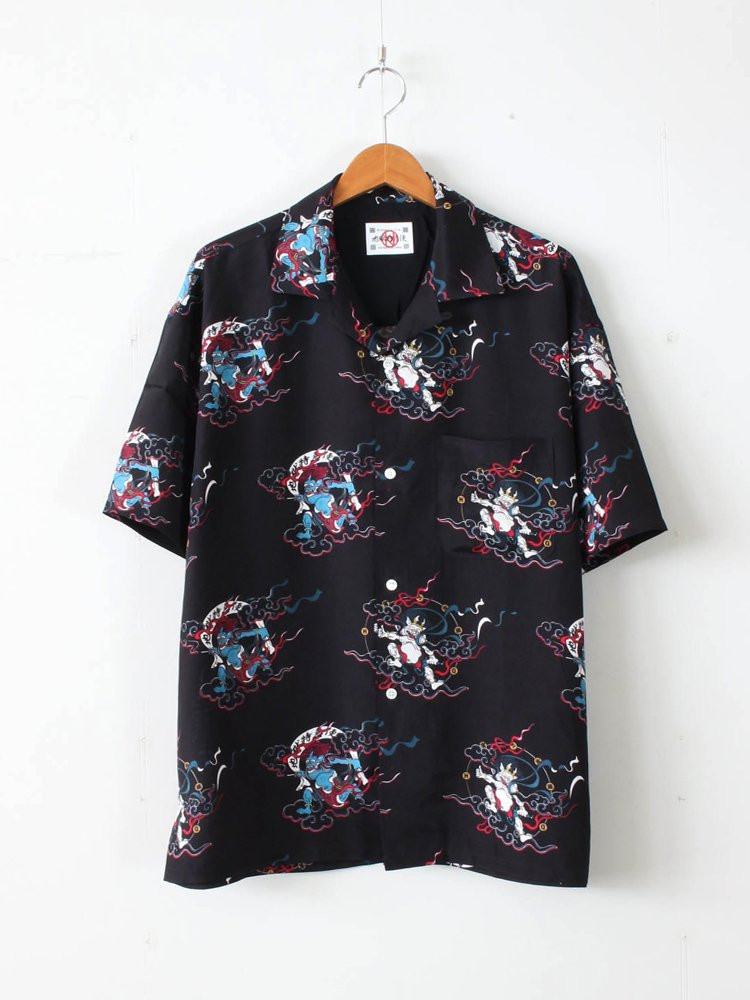 風神雷神 HAWAIIAN SHIRTS #BLACK [20SS-DH-HQ-BV-02]