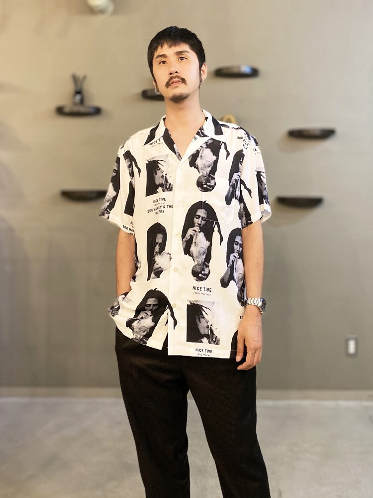 BOB MARLEY | S/S HAWAIIAN SHIRT (TYPE 1) #WHITE [BOBMARLEY-WM-HI03]
