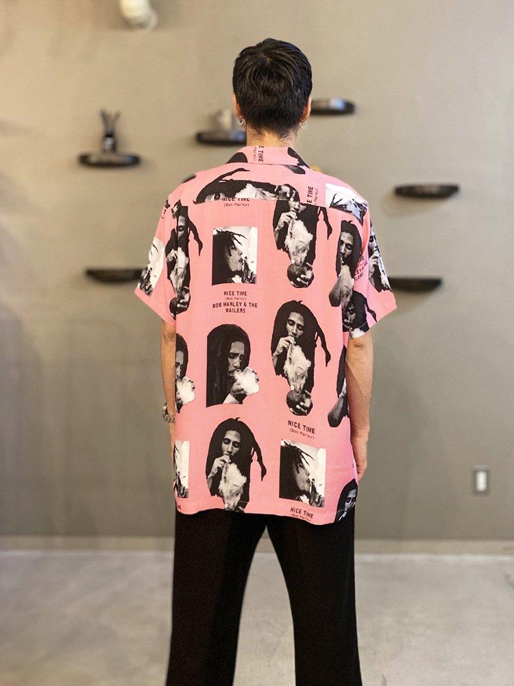 BOB MARLEY | S/S HAWAIIAN SHIRT (TYPE 1) #PINK [BOBMARLEY-WM-HI03]