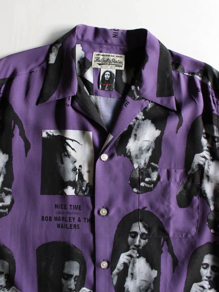 BOB MARLEY | S/S HAWAIIAN SHIRT (TYPE 1) #PURPLE [BOBMARLEY-WM-HI03]
