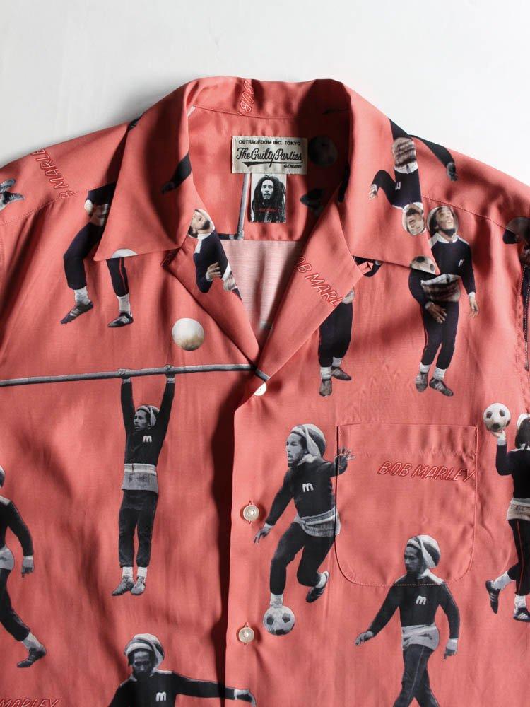 BOB MARLEY | S/S HAWAIIAN SHIRT (TYPE 2) #RED [BOBMARLEY-WM-HI04]