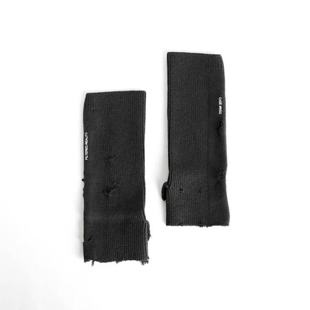 C2H4|RUIN DISTRESSED HALF-HAND GLOVES #BLACK [R002-123]