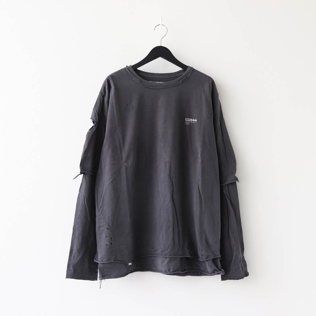 C2H4|DISTRESSED DOUBLE LAYER L/S TEE #GRAY [R002-040]