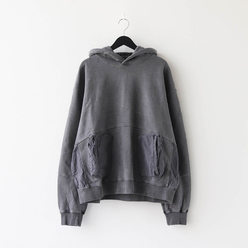 C2H4|COLD-DYE PANELLED HOODIE #GRAY [R002-031]