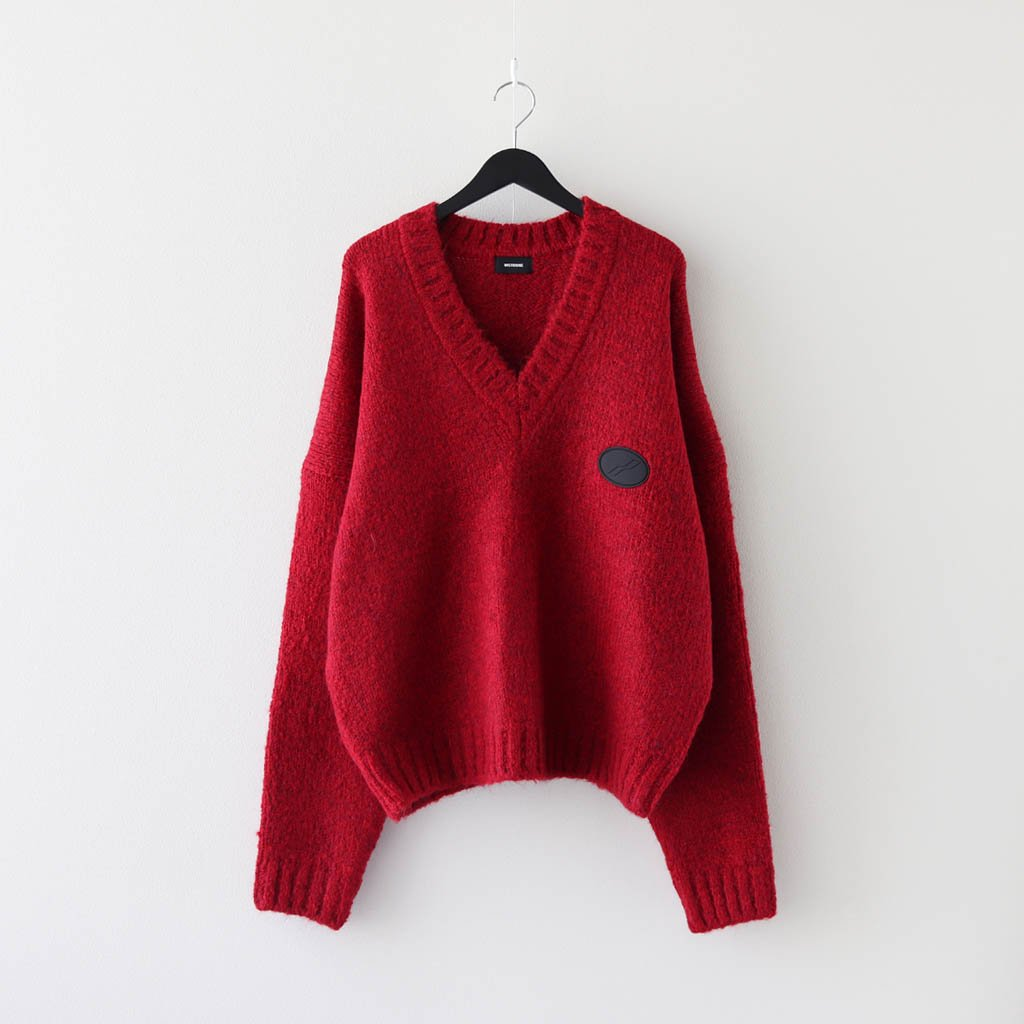 WE11DONE|OVERSIZE EMBROIDERED LOGO PATCH KNIT SWEATER #RED [WD-KO8-20-006-U]