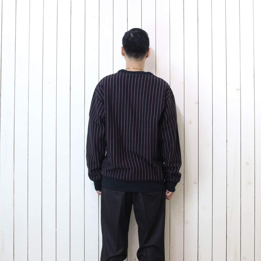 STRIPED CREW NECK SWEAT SHIRT #BLACK-PINK [20FW-WMC-SS04]