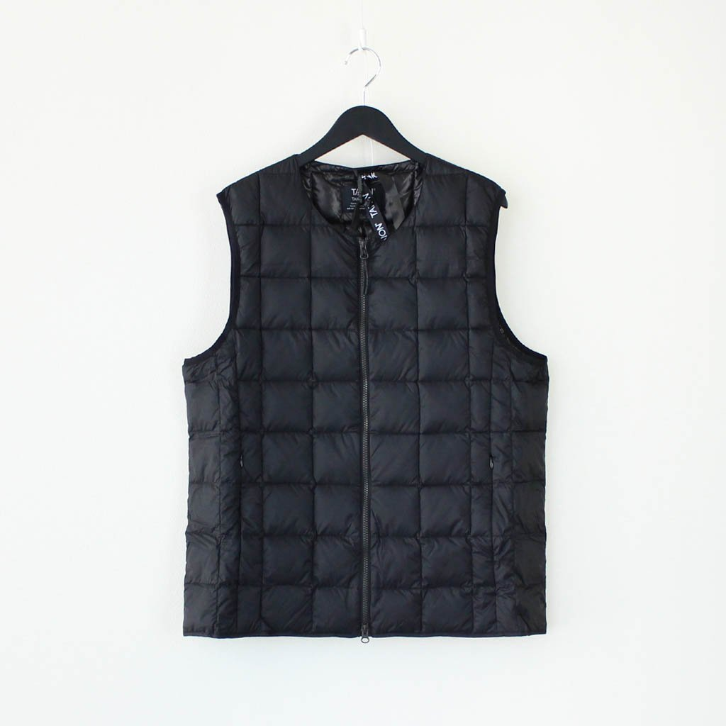 TAION|CREW NECK W-ZIP DOWN VEST #BLACK [TAION-005]
