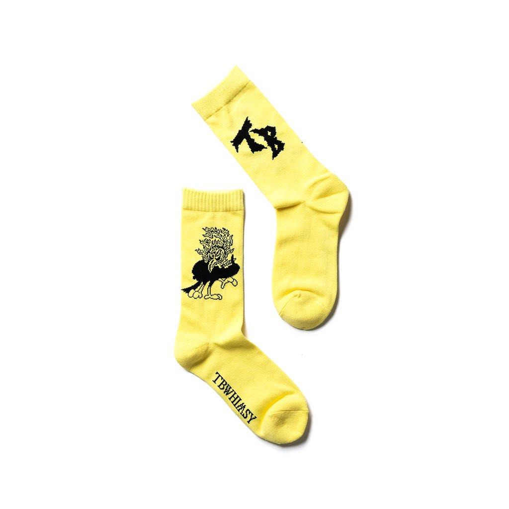 TIGHTBOOTH PRODUCTION WHIMSY SOCKS   YATAGARASU SOCKS #YELLOW [FW20-15th13]