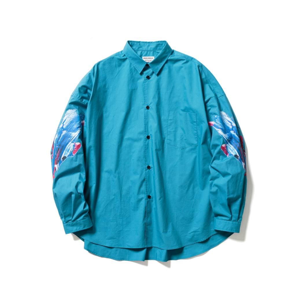 L/S PRINT SHIRTS #BLUE [21SS-MEGURU-TP-FS-02]