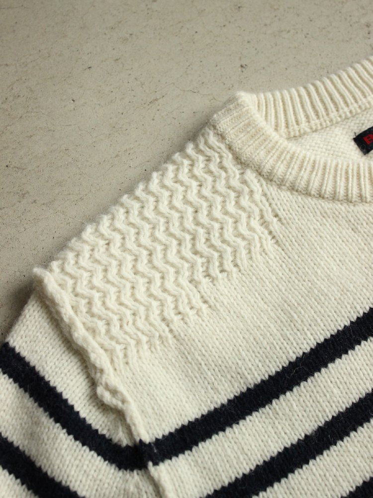 BLUE BLUE | ブルーブルー ALPACA MIX MARINE BORDER CREWNECK SWEATER #NATURAL