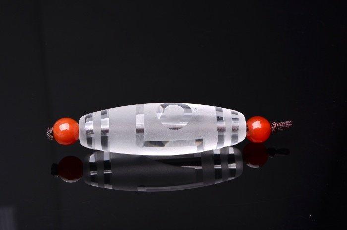一眼天珠 水晶天珠 36x11mm 天珠_R5057-1 天然石 卸売問屋 パワーストーン卸通販の福縁閣 ブレスレット 連ビーズ