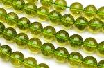 ペリドット風クラック水晶 12mm 1連(約38cm)_R5077-12 天然石 卸売問屋 パワーストーン卸通販の福縁閣 ブレスレット 連ビーズ アクセサリー