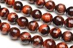 レッドタイガーアイ 128面カット 8mm 1連(約38cm)_R5176-8 天然石 卸売問屋 パワーストーン卸通販の福縁閣 ブレスレット 連ビーズ アクセサリー
