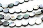 ブラックシェル(黒蝶貝) オーバル 8x10mm  1連(約38cm)_R5343-8 天然石 卸売問屋 パワーストーン卸通販の福縁閣 ブレスレット 連ビーズ アクセサリー