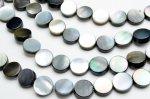 ブラックシェル(黒蝶貝) コイン 8mm  1連(約38cm)_R5345-8 天然石 卸売問屋 パワーストーン卸通販の福縁閣 ブレスレット 連ビーズ アクセサリー