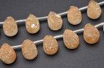 ドゥルージークォーツ オレンジ ペアシェイプ 10x14mm 1連(約20cm)_R5463-7 天然石 卸売問屋 パワーストーン卸通販の福縁閣 ブレスレット 連ビーズ アクセサリー