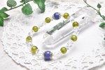 高品質 タンザナイト&ペリドット 9.5mm ブレスレット_A575