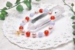 高品質 カーネリアン&貝パールピンク 8mm ブレスレット_A588