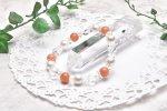 高品質 オレンジムーンストーン&水晶スターカット 8mm ブレスレット_A593