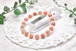 高品質 オレンジムーンストーン&水晶ボタンカット 8mm ブレスレット_A594
