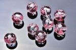 彫刻 水晶 ピンク彫り 桜 10mm 粒売り_T442-10