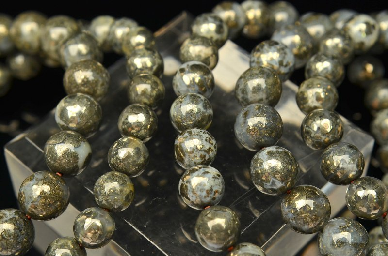 パイライトインカルセドニー 8mm ブレスレット_BG396-8 天然石 卸売問屋 パワーストーン卸通販の福縁閣 ブレスレット 連ビーズ