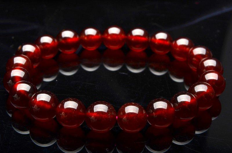 オレンジガーネット 7mm ブレスレット_B402-7 天然石 卸売問屋 パワーストーン卸通販の福縁閣 ブレスレット 連ビーズ