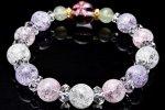春の守 桜の興趣 水晶ピンク彫りxカラフルクラック三拍子 当店オリジナルブレス 天然石 パワーストーン_A731
