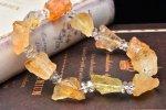 幸運の石・太陽のエネルギー まるで氷砂糖のようなキラキラ 原石ラフカット シトリンxボタンカット水晶 当店オリジナルブレス 天然石パワーストーン_A751